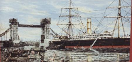 Construction of Tower Bridge and SS Ruhine about 1