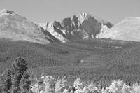 Autumn View of  Rocky Mountains Longs Peak BW