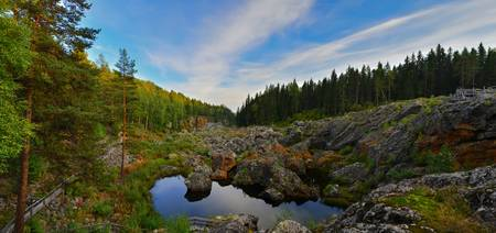 Panorama of Doda Fallet, Sweden.