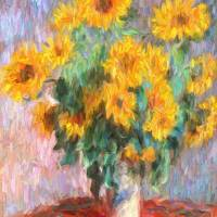 Sunflowers After Monet Art Prints & Posters by Zeana Romanovna