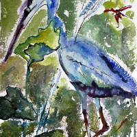 """Blue Heron Stalking Watercolor and Ink"" by GinetteCallaway"