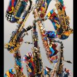 """Colorful Saxophones Art Print by Juleez"" by JuleezArt"