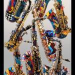 """Colorful Saxophones Art Print by Juleez"" by JuleezArt"