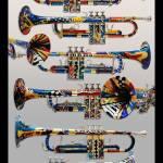 """Colorful Painted Trumpets Music Art Print"" by JuleezArt"