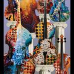 """Colorful Musical Instrument Cello Violin Art by Ju"" by JuleezArt"