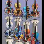 """Violin Art Decor Print Colorful Music Art Juleez"" by JuleezArt"