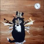 """abstract tuxedo cat art steampunk themed sebastian"" by hollyandersonart"