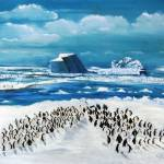 """100 Penguins at North Pole"" by cneartgallery"