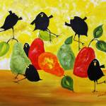 """Six Crows and Pear"" by cneartgallery"
