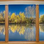 """Autumn Water Reflections Classic Wood Window View"" by lightningman"