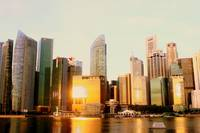 Urban Singapore + Morning Sun reflection