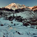 """Sunset highlights icy creek below Mount Rainier"" by JohnChaoPhoto"