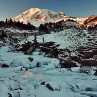 Frozen creek below Mount Rainier at sunset Art Prints & Posters by JOHN CHAO