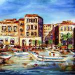 """Mediterranean Village Harbor and Boats"" by GinetteCallaway"