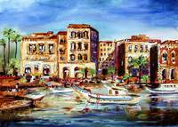 Mediterranean Village Harbor and Boats