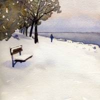 Snow in the park Art Prints & Posters by Kathy Johnson