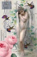 Collage Angel,Birds and Roses