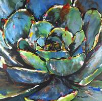 Green Succulent Painting Agave Botanical Artwork