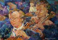 Cellists In Orchestra Playing Classical Music