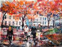 City Walk In Fall (Autumn) - Art Prints