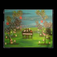 Grand piano and guitar in a colorful forest