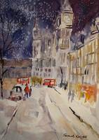 Clock Tower In Winter - City Street Scene