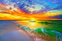 ocean wave sunset orange beach sunset canvas