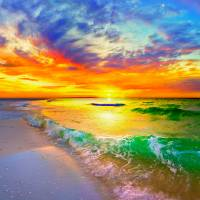 ocean wave sunset orange beach sunset canvas Art Prints & Posters by eszra tanner