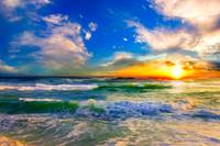 colorful ocean sunset blue seascape sunrise