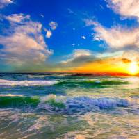 colorful ocean sunset blue seascape sunrise Art Prints & Posters by eszra tanner