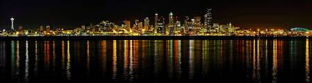 Seattle Night Skyline Panorama