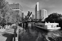 Chicago river in black and white