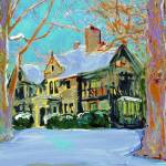 """Snow on the Manor Home portrait"" by BeaconArtWorksCorporation"