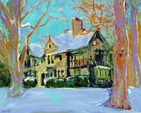 Snow on the Manor Home portrait