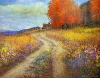 road by the lake with flowers and fall colors