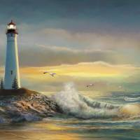 Crisp Point Lighthouse at Sunset Art Prints & Posters by Gina Femrite