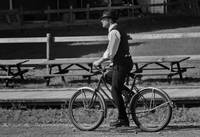 A man and an old bicycle