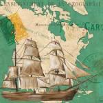 """Watercolor Map 2 20x20"" by DebbieDeWitt"