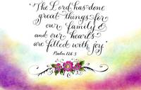 Psalm 126 handwritten calligraphy art
