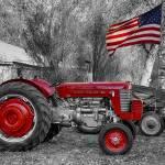 """Massey -  Feaguson 65 Tractor with USA Flag BWSC"" by lightningman"