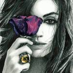 """Mila Kunis with Flower"" by elismithart"
