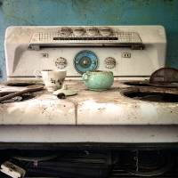 stovetop in an abandoned house Art Prints & Posters by Jody Miller