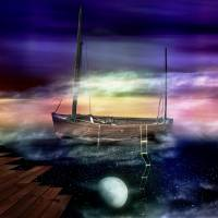 Sailing through the Night Sky Art Prints & Posters by Andy King Art