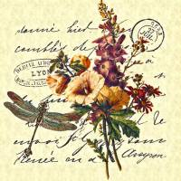 vintage floral and dragonfly Art Prints & Posters by Elizabeth Mix