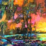 """Modern Wetland Sunset"" by GinetteCallaway"