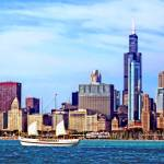 """Chicago IL - Schooner Against Chicago Skyline"" by susansartgallery"
