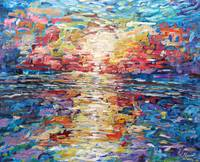 Multi Coloured Impressionist Sunset Painting