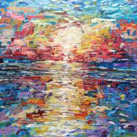 """Multi Coloured Impressionist Sunset Painting"" by Pete Caswell"