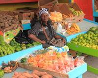 Woman selling produce, Nassau Bahamas