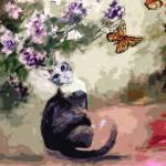 """Modern Cat Art Mixed Media P2"" by GinetteCallaway"